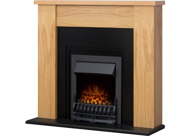adam new england fireplace suite in oak and cast effect with blenheim black electric fire 48 inch