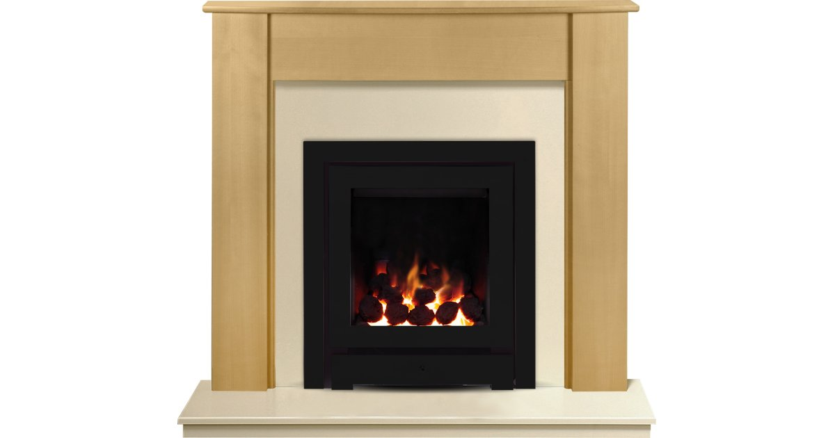 the capri in beech & marfil stone with crystal montana he gas fire in black 48 inch