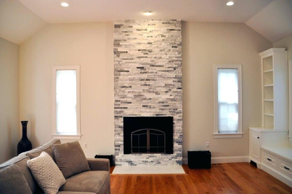 fireplace stone work diy gray marble ledger panel accent wall
