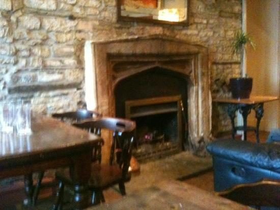 fireplace in the bar