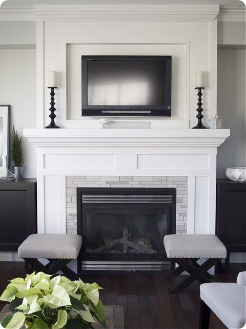 Black Fireplace Mantel Unique Tv Inset Over Fireplace No Hearth Need More Color Tho