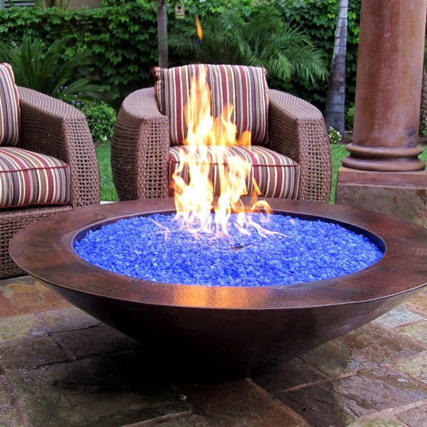 """Blue Fireplace Glass Inspirational 48"""" Es Natural Gas Fire Pit Auto Ignition Copper with"""
