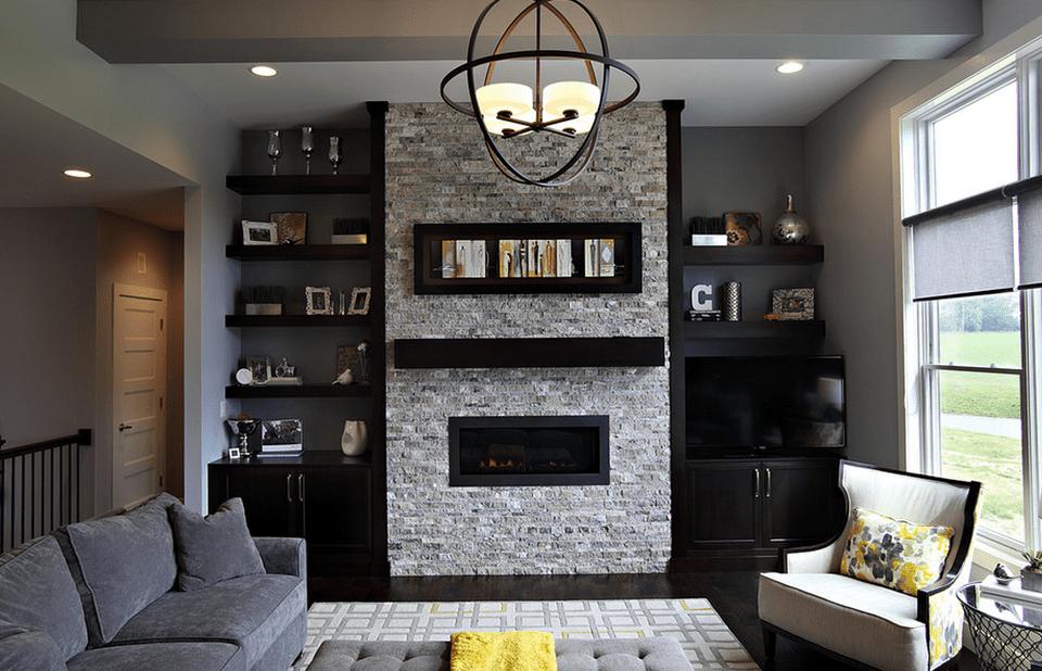 Modern living room with black built ins State Street Interiors df78c17b6b36d3e