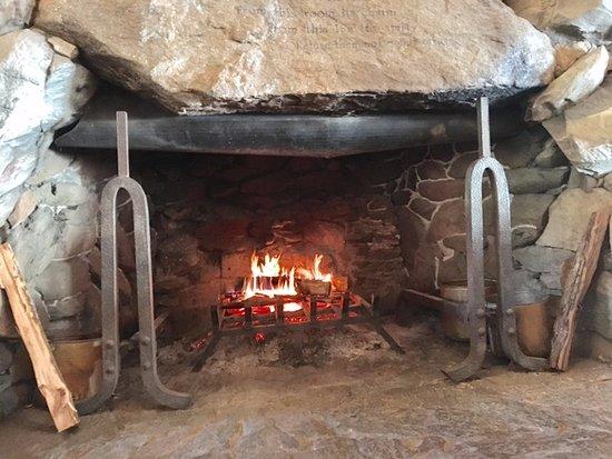 massive fireplace 7 feet
