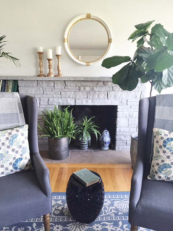 The Inspired Room Stone Fireplace Painted with Chalk Paint Paris Grey by Annie Sloan