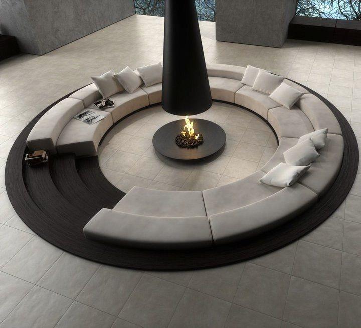 Circular Fireplace Beautiful 1 Circular Conversation Pit Central Fireplace