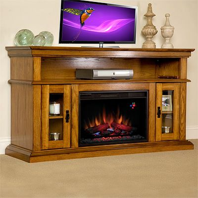 "Console Table with Fireplace Best Of 3 Brookfield 26"" Premium Oak Media Console Electric"