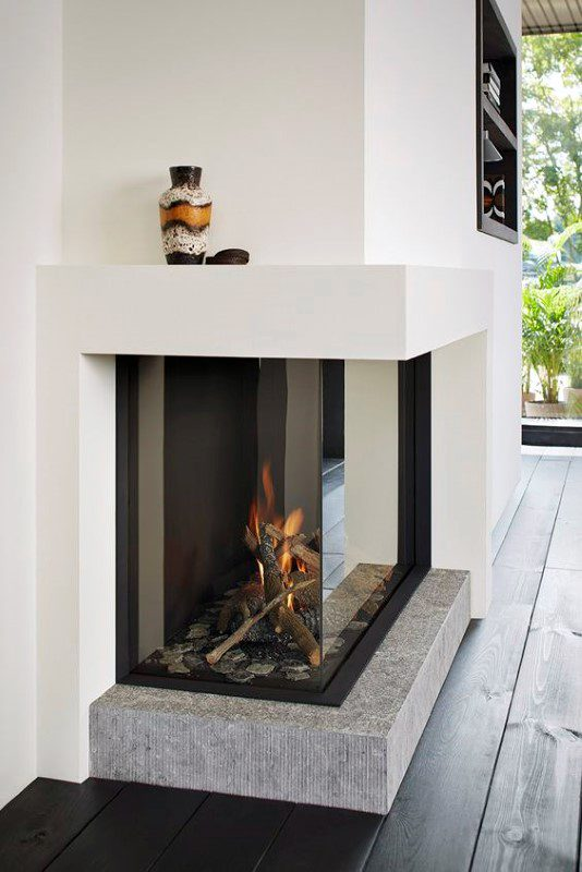 contemporary drywall corner fireplace design