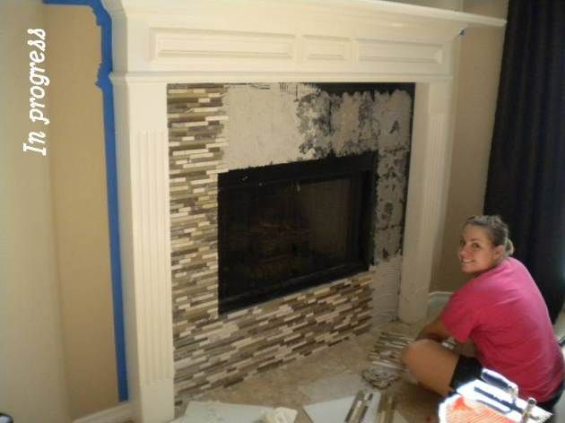Covering Brick Fireplace with Tile Best Of Glass Tile Fireplace Hing to Cover Our Ugly White