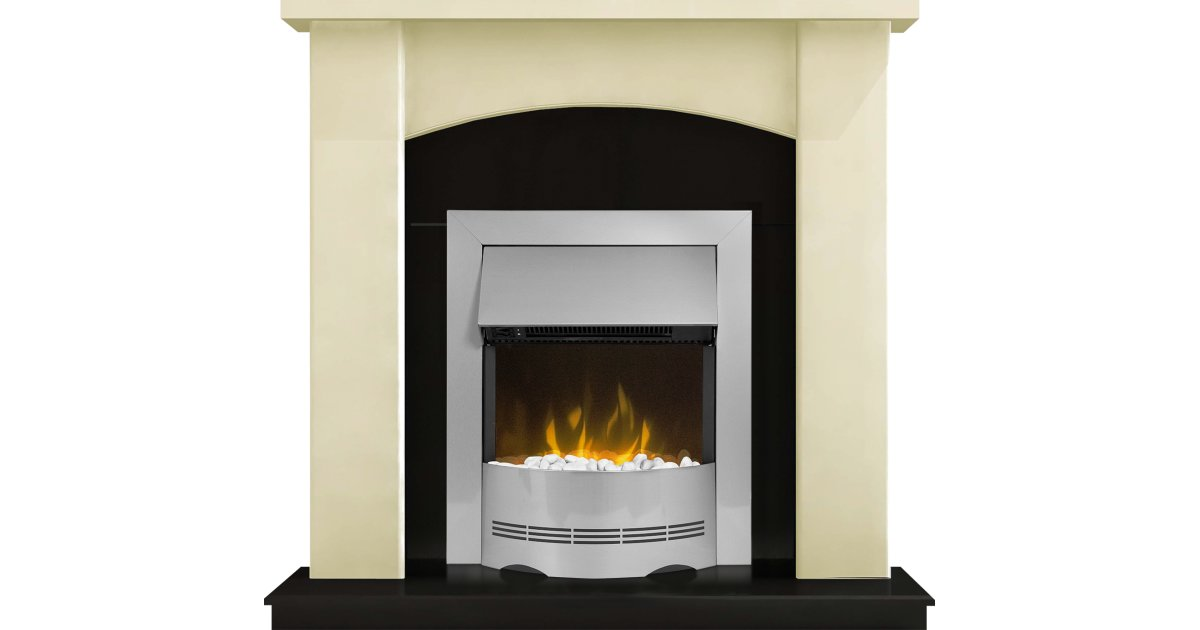 adam holden fireplace suite in cream with dimplex elda electric fire in brushed steel 39 inch