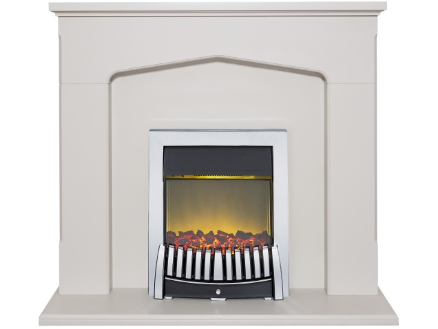 adam cotswold fireplace suite in stone effect with elise electric fire in chrome 48 inch