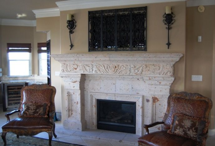 "Custom Fireplace Elegant Cantera Stone Custom Fireplace In the ""pinon"" Color"