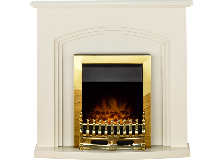 adam truro fireplace suite in cream with blenheim electric fire in brass 41 inch