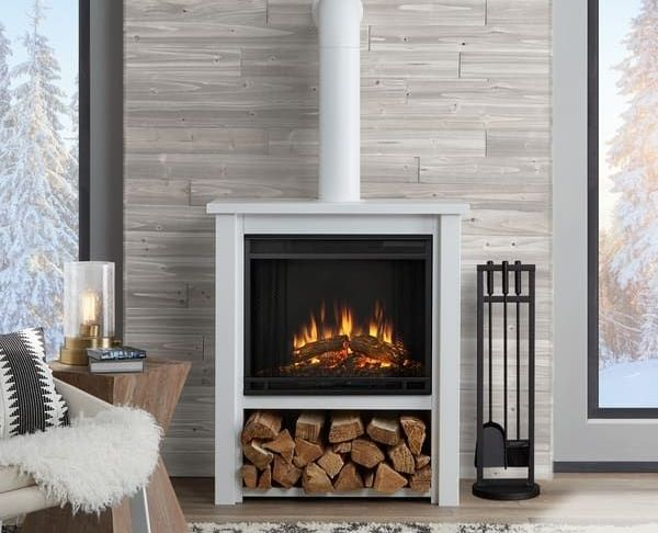 "Electric Fireplace Freestanding New Real Flame Hollis Electric 17"" W X 32"" L Fireplace White"