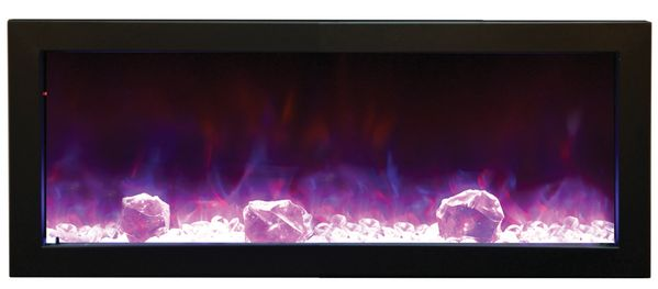 amantii 40 inch panorama slim built in electric fireplace with black surround 6