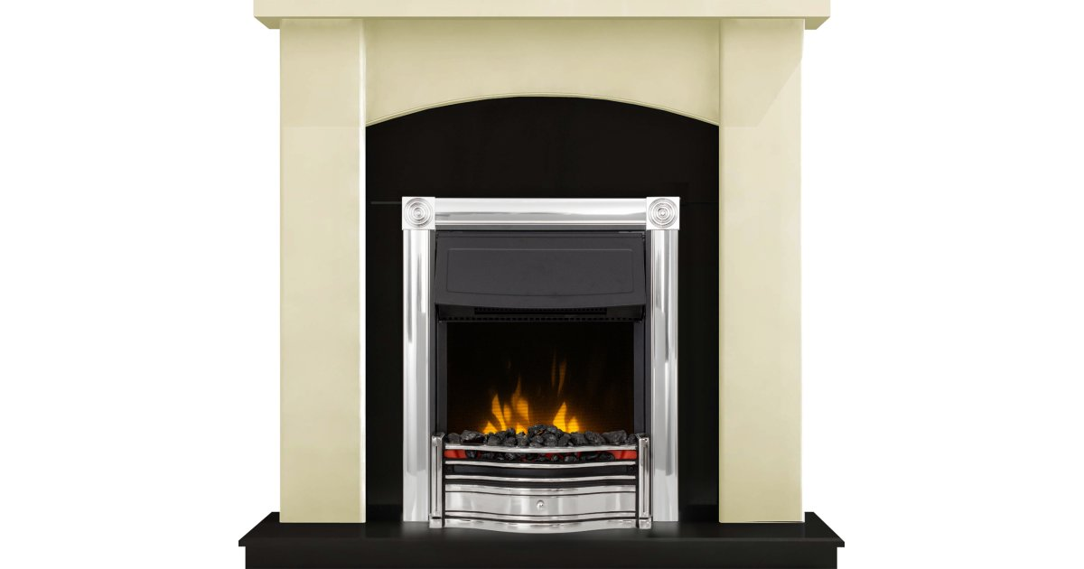 adam holden fireplace suite in cream with dimplex horton electric fire in chrome 39 inch