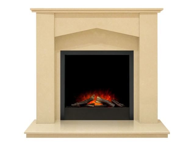 georgia fireplace in beige stone with adam ontario electric fire in black 48 inch