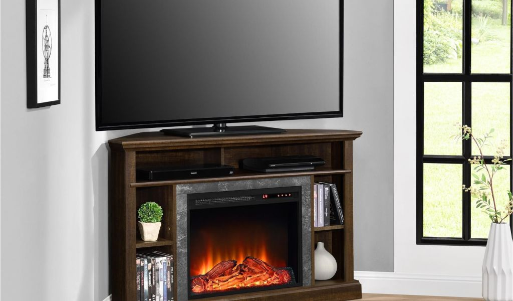 wood entertainment center with fireplace insert this contemporary styled warm espresso altra overland corner of wood entertainment center with fireplace insert 1024x600