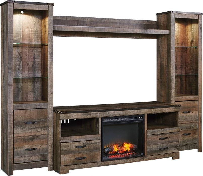 entertainment center with fireplace ideas plans and barn doors 805x698