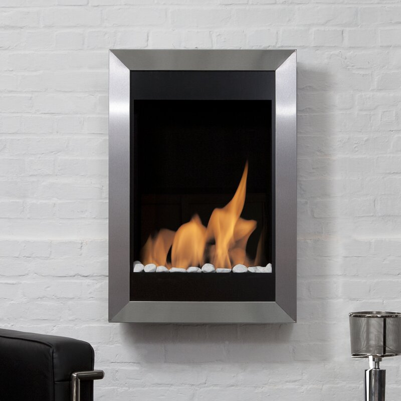 Square Vertical Stainless Steel Ventless Wall Mounted Bio Ethanol Fireplace