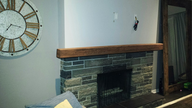 custom timber mantel real stone fireplace 2ndview