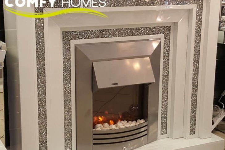 Fireplace Crystals Lovely Mirrored White Crushed Crystal Level Fireplace Milano