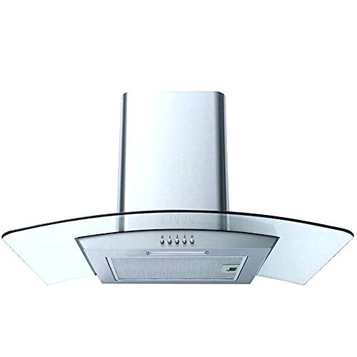 cooker hood extractor curved glass stainless steel chimney fan kitchen vent outside cover