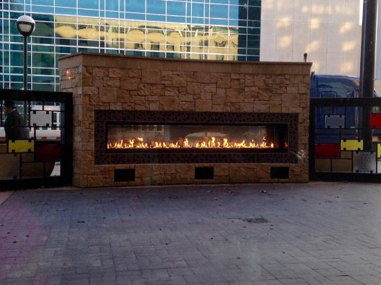 outdoor fireplace outside