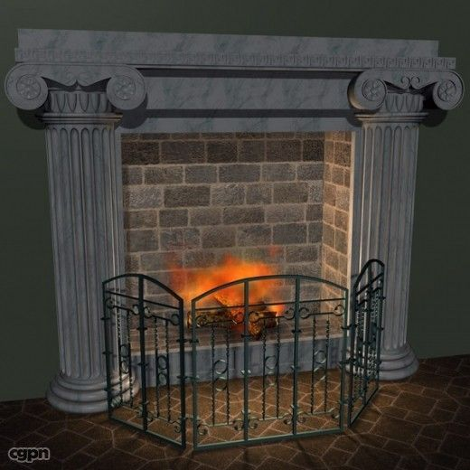 Fireplace Iron Grate New Fireplace with Grate 3d Model Cgstudio