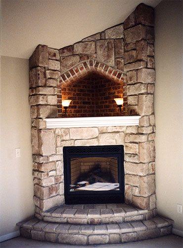 Fireplace Masonry Awesome Corner Fireplace with Hearth Cove Lighting Corner Wood