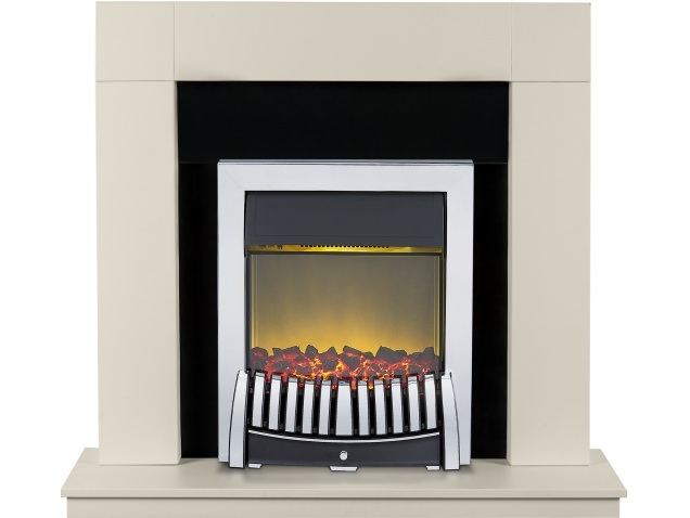 adam malmo fireplace in cream and blackcream with elise electric fire in chrome 39 inch