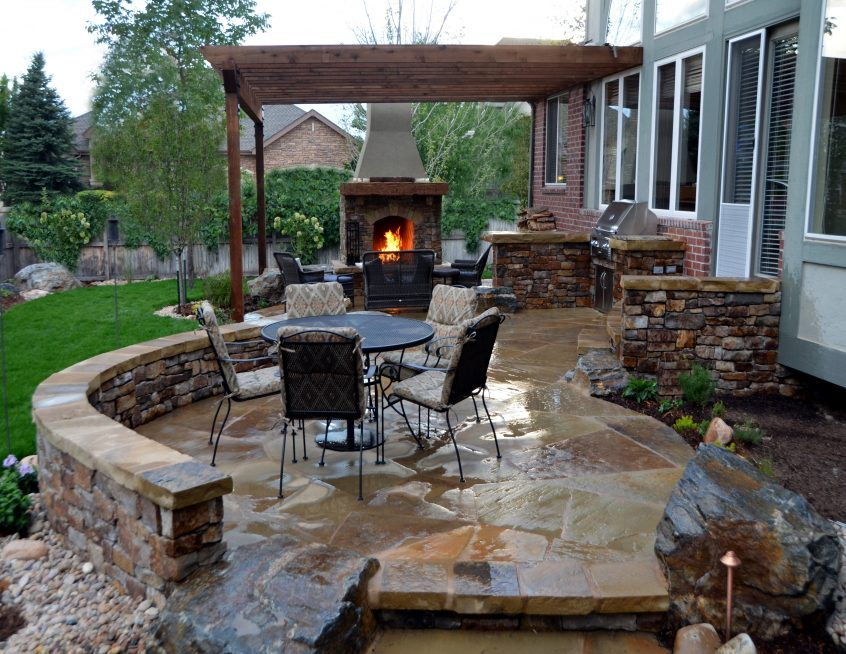 outdoor kitchen patio designs cileather home design ideas best top with fireplace flagstone 846x654