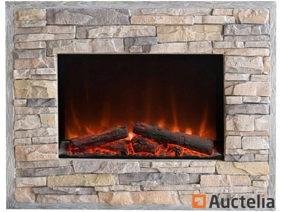 el fuego florenz electric wall led fireplace stone aspect L