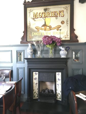 the fireplace at the