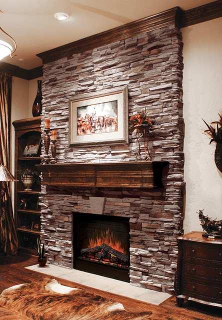 ledger stone fireplace