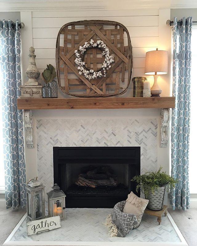 Fireplace Room Luxury Remodeled Fireplace Shiplap Wood Mantle Herringbone Tile
