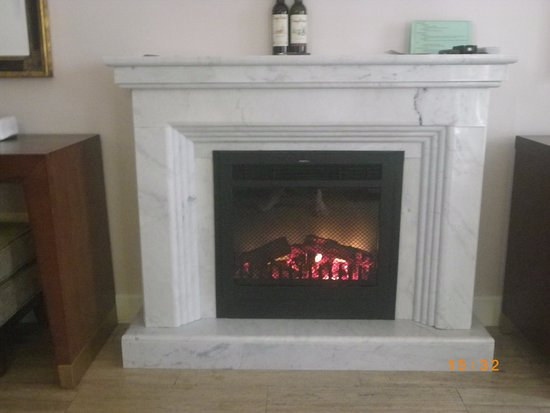 marble fireplace and