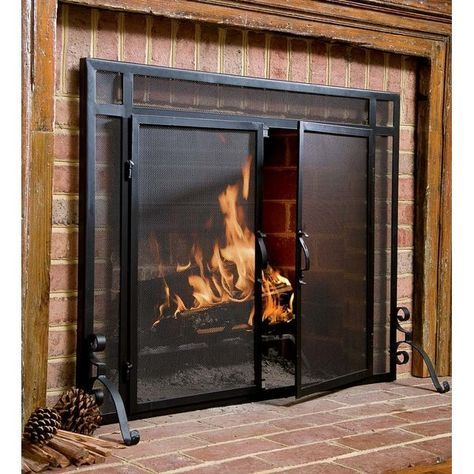 Fireplace Screen with Doors New Single Panel Steel Fireplace Screen In 2019
