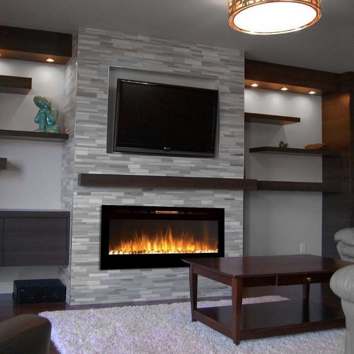 flat electric fireplace