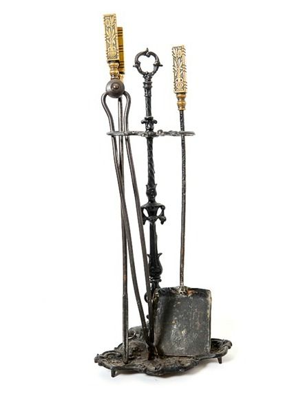 Fireplace toolset New Vintage Arts and Crafts Fireplace tool Set
