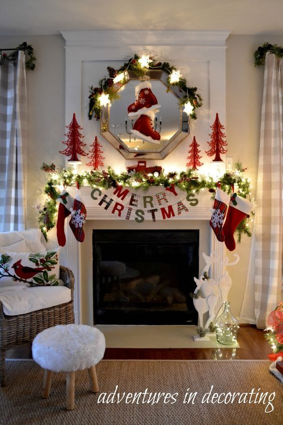 Fireplace Xmas Decorations New Adventures In Decorating Our Christmas Great Room Mantel