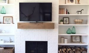24 Lovely Floating Shelves Next to Fireplace
