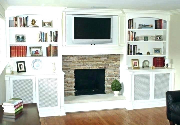floating shelves on one side of fireplace unique design next to ceiling white