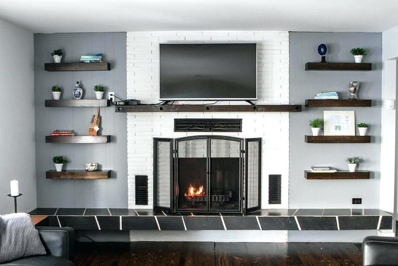 floating fireplace image of floating shelves next to fireplace floating fireplace mantel brackets