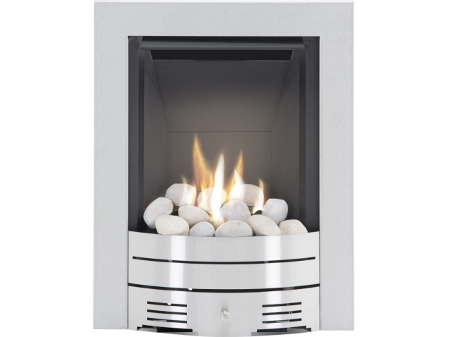 the diamond contemporary gas fire in brushed steel pebble bed by crystal