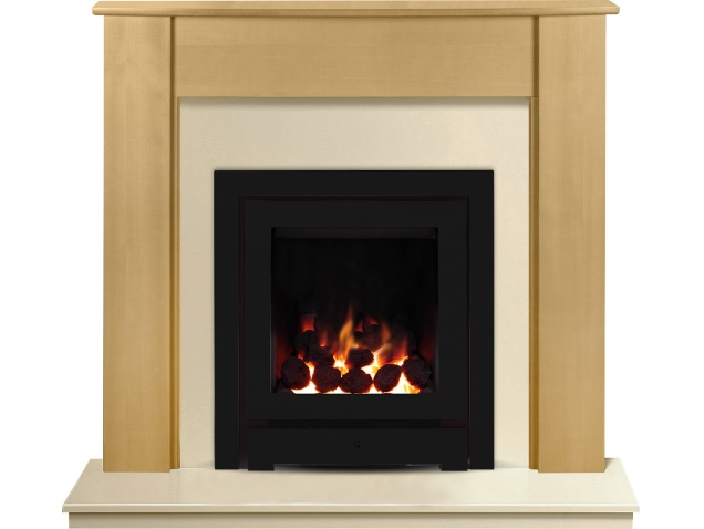 the capri in beech marfil stone with crystal montana he gas fire in black 48 inch