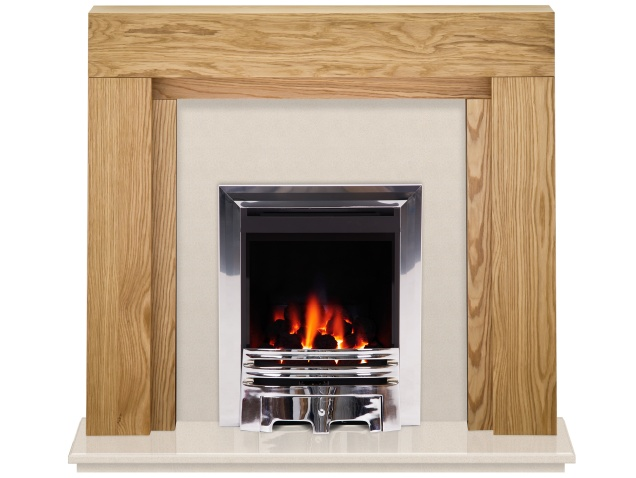 the beaumont fireplace in oak beige stone with crystal gem gas fire in chrome 54 inch