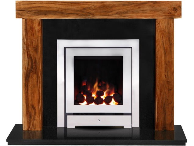 the fenchurch in acacia granite with crystal montana he gas fire in chrome 54 inch