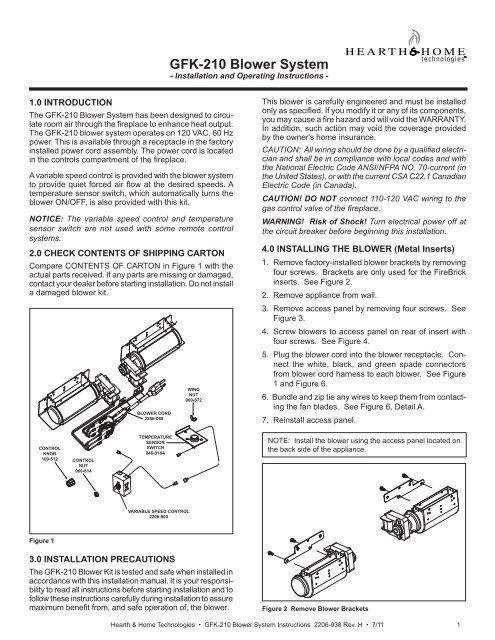 gfk 210 blower system heatilator fireplaces
