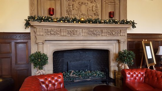 the fireplace in the